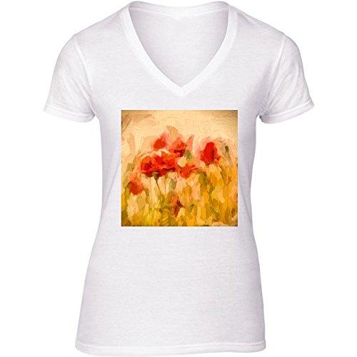 camiseta-blanca-con-v-cuello-para-mujer-tamao-m-campo-de-maz-dorado-con-amapolas-by-utart