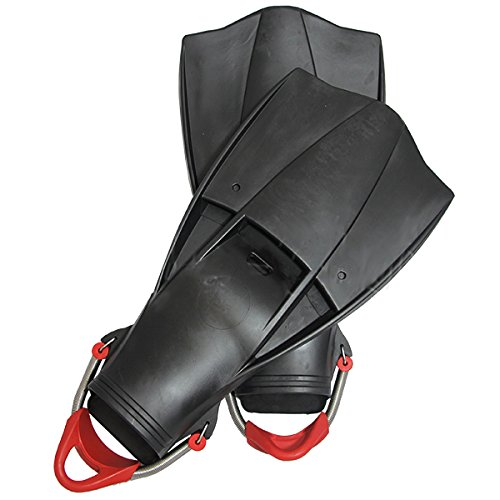Red Rubber Strap (Scuba Choice Scuba Diving Free Dive Spearfishing Black Rubber Fins with SS Spring Heel Straps, Large)