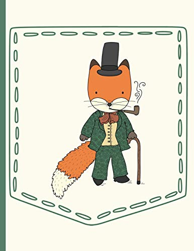 Gentleman Fox Smoking Pipe and Walking with Cane Pocket: Everyday Notebook