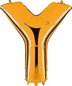 Grabo 442G-P Letra Y Globo Superloon paquete individual, largo-40 pulgadas, color, oro, talla única