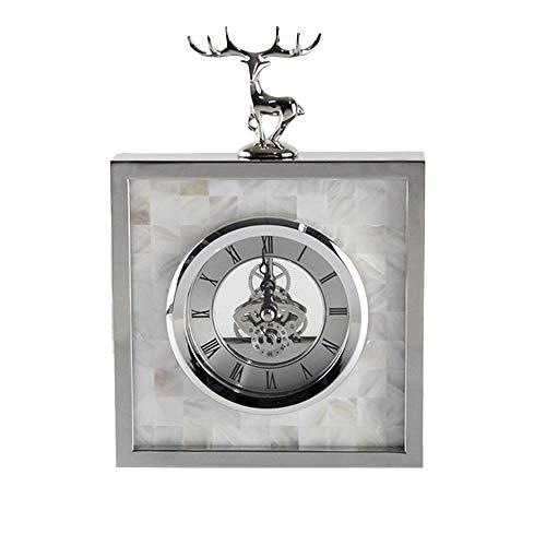 LJF-Desk clock Mantel- / Tischuhr Wohnzimmer Kreative Tischdekoration Stummschaltuhr Digitaluhren, Silber, 16 × 23 × 4cm
