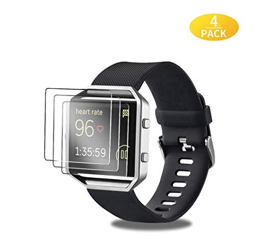 EAWEN 4 Stück Panzerglas Schutzfolie für Fitbit Blaze, High-Definition Kratzfest Displayschutzfolie Kompatibel mit Fitbit Blaze Smart Watch Schutzfolie