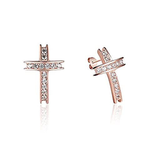 Rose Gold / Silver-Tone Color 925 Sterling Silver Cross Shaped Overlapping Pattern Cubic Zirconia Inlay Earrings Jewelry