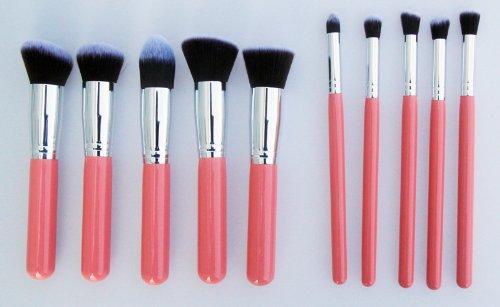 Contever® Mesdames Rouge Poignée - 10Pcs Brosse de Maquillage Kabuki Set Cosmétique Fondation Blending Blush Eyeliner Poudre pour le Visage Kit - Tube Couleur Argent