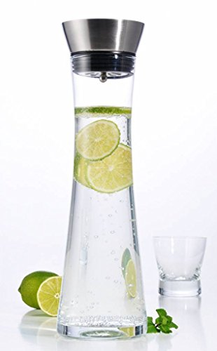 1 Ltr Glass Water Decanter Wine Juice Cold Drinks Carafe Stainless Steel Jug