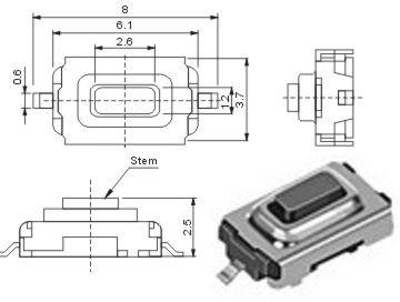 10 Stück SMD Subminiatur-Taster für Auto-FFB und Garagenfernbedienung RoHS (elpohl®) (Ic-703)