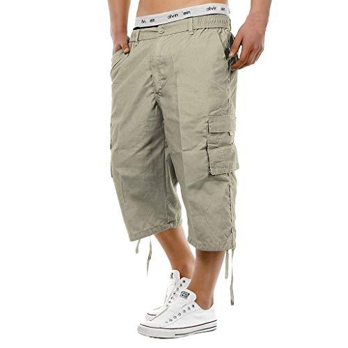 KIMODO Herren elastische Taille Hose knielange Chinohose Combat 3/4 Lange Rangerhose Stoff Sport Jogging Freizeit Outdoorhose
