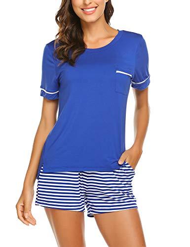 Unibelle Damen Pyjama Set Sommer Schlafanzug Baumwolle Kurzarm Jersey Nachtwäsche Zweiteilig