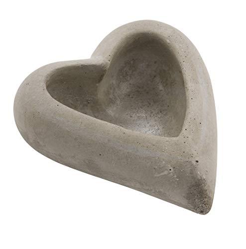 Spetebo Keramik Herz grau - Dekoherz in Beton Optik - Herz Schale Pflanzschale Tischdeko -