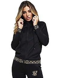 SikSilk Women s Athena Poly Zip Through Hoodie Black 888c8358f