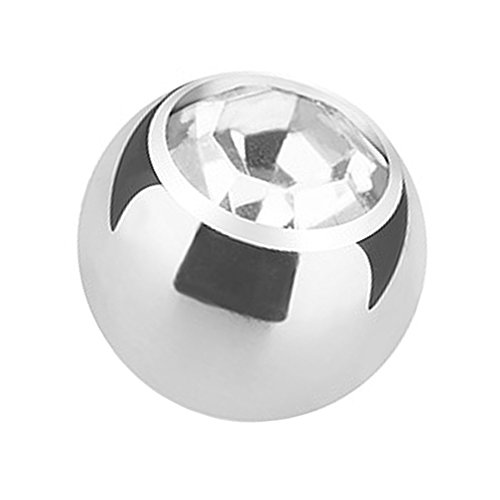 Piercingfaktor Piercing Ersatz Schraubkugel Kugel Verschluss Verschlusskugel Ersatzteile Edelstahl Silber mit Strass Kristall 4mm x 1,6mm Clear Transparent