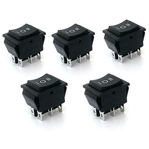 Rocker Switch Double Pole (Ytian 5 x Wippenschalter 6-polig EIN/AUS / EIN Schwarz Wippe, 250V/15A 20A /125VAC)