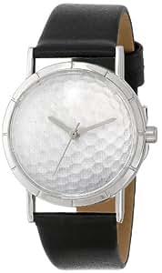 Skurril Uhren Golf lover schwarzem Leder und Silvertone Foto Unisex Quarzuhr mit weißem Zifferblatt Analog-Anzeige und-Lederband r-0840009