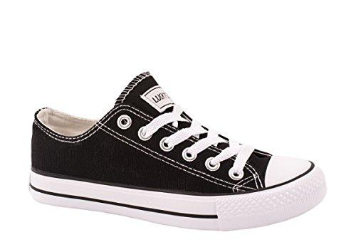 Elara Unisex Sneaker | Sportschuhe für Herren und Damen | Low top Turnschuh Textil Schuhe Farbe Schwarz, Größe 36