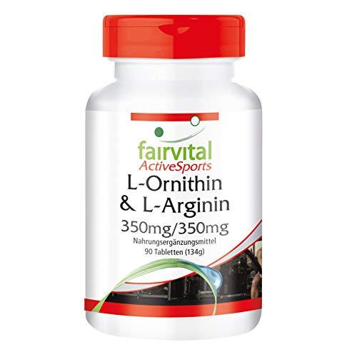 L-Ornithin & L-Arginin 350mg/350mg - - für 22 Tage - VEGAN - HOCHDOSIERT - 90 Tabletten - Aminosäuren