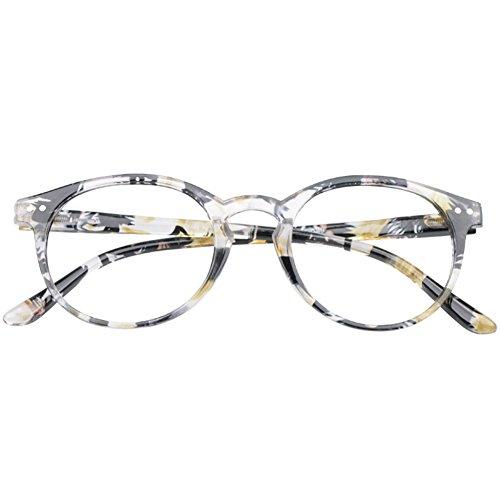VEVESMUNDO® Lesebrillen Damen Herren Federscharnier Lesehilfe Augenoptik Vintage Retro Qualität Vollrandbrille 1.0 1.25 1.5 1.75 2.0 2.25 2.5 3.0 3.5 (1 Stück Gelb Blumen, 2.0)
