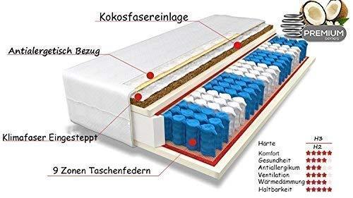 Tanato Matratzen Matratze 80x200 cm 2in1 Liegehärten H3&H4 Mittelfest und Fest, Höhe ca.24 cm, 9-Zonen Taschenfederkern…