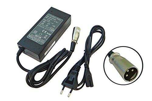 vhbw 220V Netzteil Ladegerät Ladekabel für e-Bike, Pedelec, Elektrofahrrad-Akkus mit 3Pin-Anschluss.