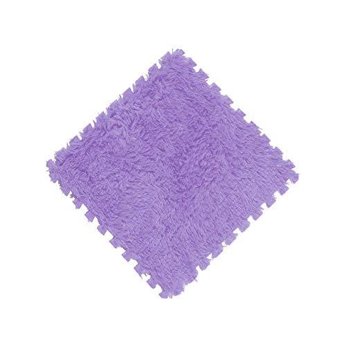 KBWL 1 Pieza 30x30cm Manta de Pelusa de Pelo Largo súper Suave Alfombra Almohadilla de Espuma DIY Puzzle Pad Alfombra Suave de Felpa Niños Bebé 30x30cm Púrpura