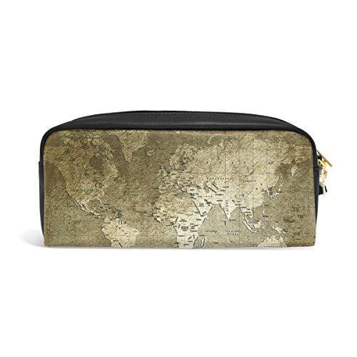 zzkko Alte Weltkarte Leder Reißverschluss Federmäppchen Pen Stationäre Bag Kosmetik Make-up Bag Tasche Geldbörse (Weltkarte Stationären)