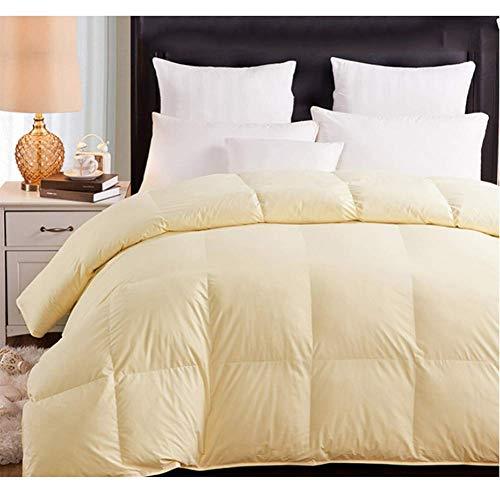 LSQ Daunendecke Daunendecke Weiß Rosa Beige Baumwollbezug King Queen Twin Size,Beige,180 * 220CM - Queen-size-weiße Daunendecke