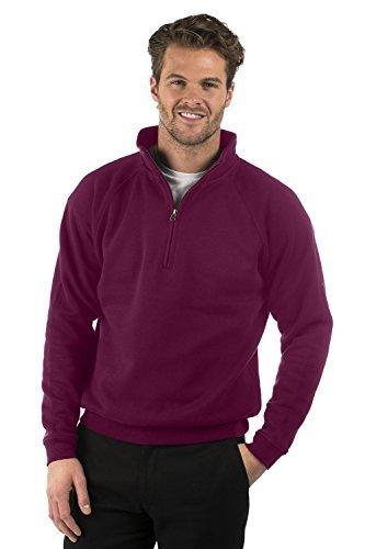 Bruntwood Klassische Quarter Reißverschluss Sweatshirtjacke - Classic Quarter Zip Sweat Jacket - Herren & Damen - 280GSM - Baumwolle/Polyester (Burgundrot, XS) -