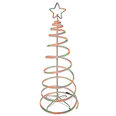 WeRChristmas 5Ft 150 cm Flashing 3D Spiral Christmas Tree Rope Light Silhouette