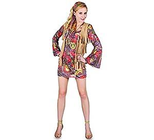 Fyasa 706119-T04 - Disfraz de Hippie para niña de 12 años de Edad,, Grande