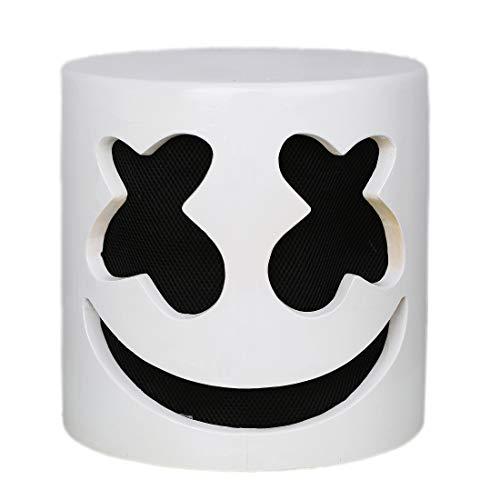 Nexthops DJ-Maske Marshmello Doctom für Festivals, Musik, Cosplay, Karneval, kompletter Kopf, Helmet, Latex, Weiß, Unisex