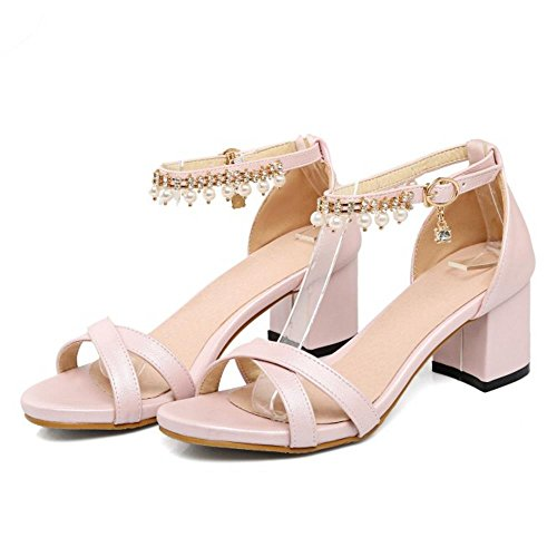COOLCEPT Femmes Mode Orteil ouvert Chunky Heel Sandales Elegant Sangle de cheville Chaussures with Perle Rose