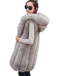 Longra Chaleco De Piel Sintetica, Escudo Mujeres Chaleco sin Mangas Prendas de Abrigo de Pelo Largo Chaleco Outwear