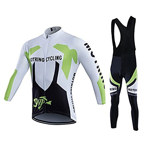 2016 Outdoor Sports Team Men's Long Sleeve USHOW Cycling Jersey and Bib Shorts Set (Green, Medium)
