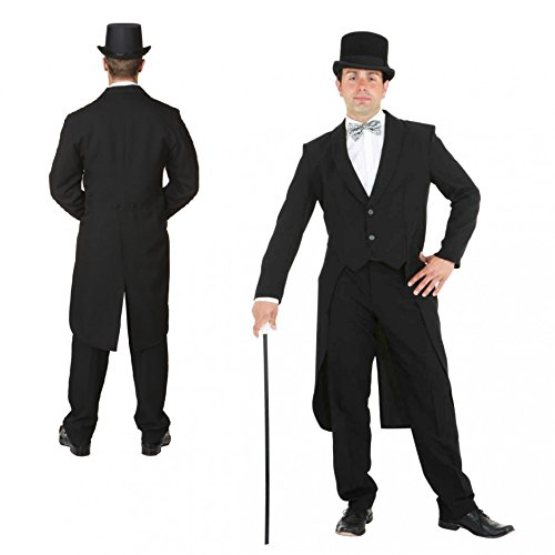 Herren Frack (PARTY DISCOUNT ® Kostüm Herrenfrack, schwarz, Gr. 56-58)