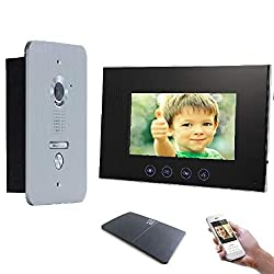 4 Draht Türsprechanlage Gegensprechanlage Video Bildspeicher mit 7'' LCD Monitor WLAN Schnittstelle