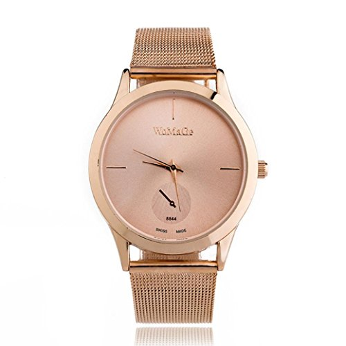 Damen Fashion Uhren, Keepwin Frauen Casual Maschengürtel Armbanduhr Elegant Simple Edelstahl Analog Quartzuhr (Roségold)