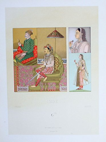 (Tracht costumes Mogul Frauen women Indien India Lithographie lithograph)