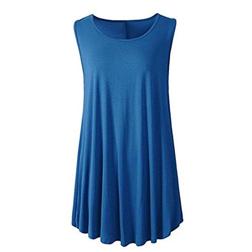 MRULIC Damen Oberteile Helle Farbe mit Knöpfe Geripptes Bluse(Z-Z-Blau,EU-40/CN-M) (Gerippte Tunika Pullover)