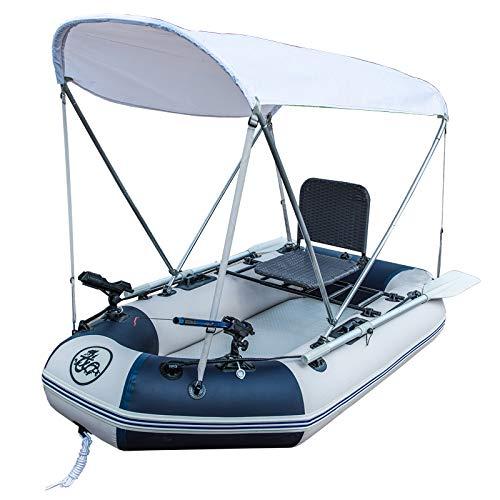 MLIBINA Schlauchboot Set Mit Ruder Und Luftpumpe, Netzboot Fischerboot Festboden Kajak Verdickung Schlauchboot Beiboot Angriff Boot Treiben Boot mit Stuhl, White, 2m