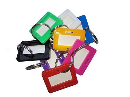 Preisvergleich Produktbild 8x Schlüsselanhänger Schlüsselschilder Kofferanhänger bunt gemischt auswechselbares Etikett Schlüssel Anhänger Kunststoff mit Ring zum Beschriften Kunststoff Schlüssel ID Label Gepäck ID Labels