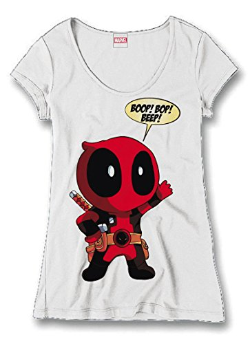Deadpool Ladies Maglia T Shirt Boop Bop Beep Size L CODI