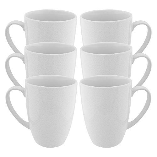 Sicherung (6Pack) weiß Kaffee Becher mit Griffen Set glasierter Keramik Becher 444ml wiederverwendbar Diner Tee Tasse Bulk