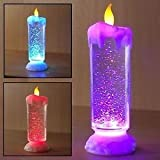 One Pearl Decorative Sequinned Led Candle Illusion Colour Changing Usb Led Light Water Glitter Spinner Candle