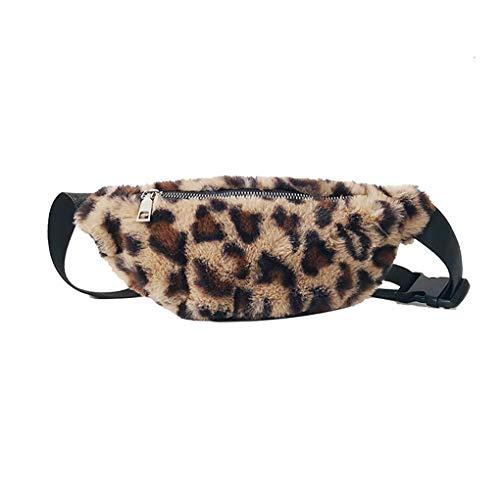 Dorical Gürteltasche/Damen mit weitem Schultergurt Brusttasche mit Leopardenmuster/Mode ReißVerschluss Plüsch Umhängetasche Brusttasch/Frauen PU-Leder Schultertasche Valentinstag Räumung (Kaffee)