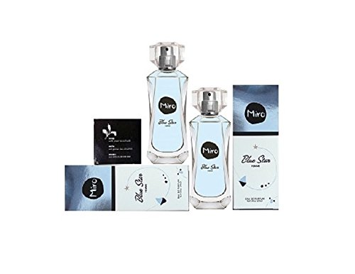 2 x MIRO Blue Star Eau de Parfum Spray 50 ml ( 100 ml ) + Seife mit grünem Tee Extrakt 20 g