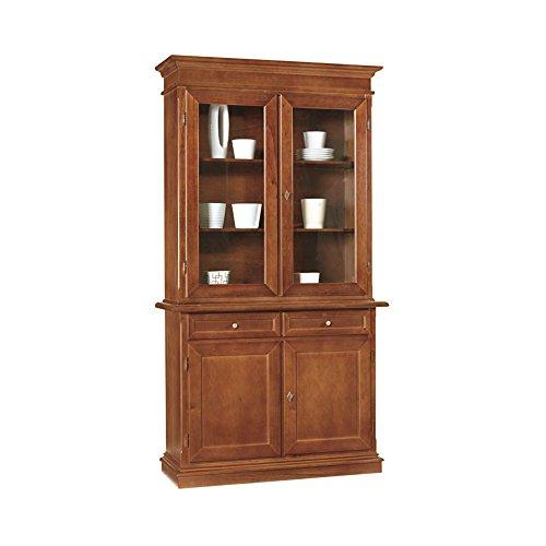 InHouse srls Credenza con cristalliera, arte povera, in legno massello e mdf con rifinitura in noce lucido - Mis. 105 x 42 x 205
