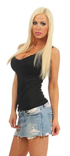 5640 Fashion4Young Damen Top Damentop Shirt Slim fit Unterhemd Basic Spitze V-Ausschnitt Schwarz