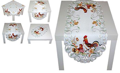 Hübsche Tischdecke 40x85 cm Oval OSTERN Weiß Hahn Henne Küken Bunt Gestickt Mitteldecke Tischläufer Osterdecke Ostertischdecke (Tischläufer 40x85 cm)