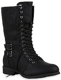 Warm Gefütterte Damen Stiefel Schnürstiefel Worker Boots Schuhe