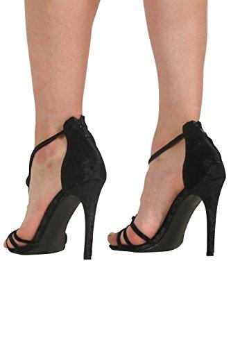 PILOT® velours bracelet en torsion moulantes sandales à talons hauts Noir
