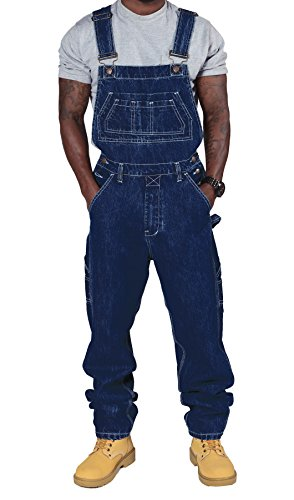 Mens Regular Fit Denim Dungarees - Dark Blue Value overalls cheap dungarees MENSVALUEDARKBLUE-L-36